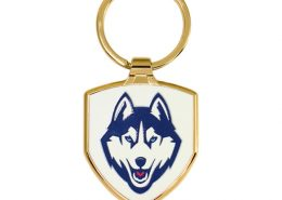 Shield Shaped Zinc Alloy Keyring with Plated Gold