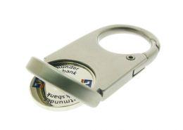 Coin keychain with brand logo shopping cart token,cj-20002