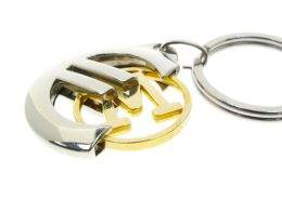 Cut out plate gold coin keychain,cj-20007