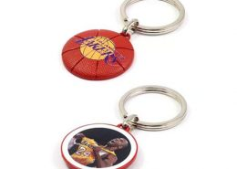 Basketball shape keychain with two side design-Professional metal keyring supplier