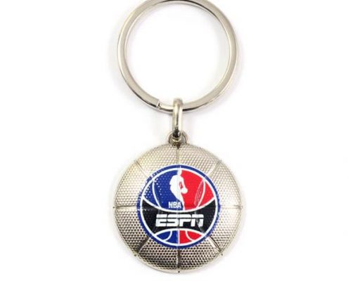 Basketball shape keychain with logo digital printing-The Best Metal Kechain Manufacturer