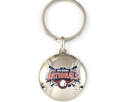Baseball zinc alloy keychain with logo print