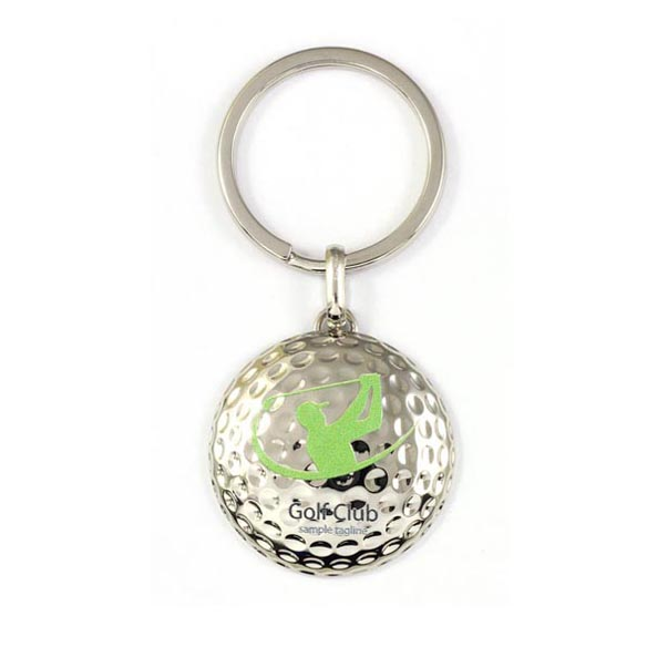 Golf metal key chain with two side digital printing