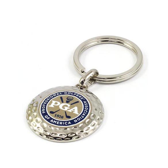 Golf zinc alloy key chain with custom digital printing