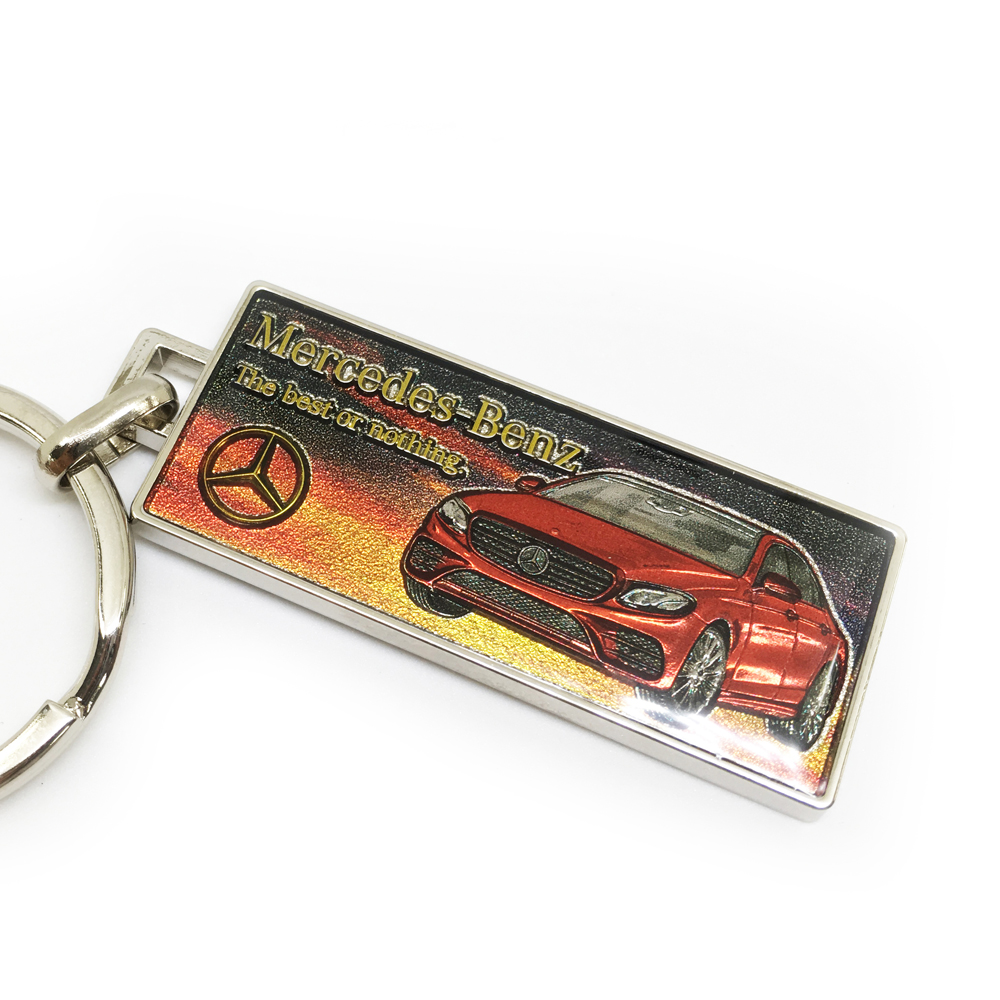 Red car key chain with crystal epoxy