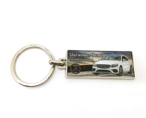 White car keychain with digital printing