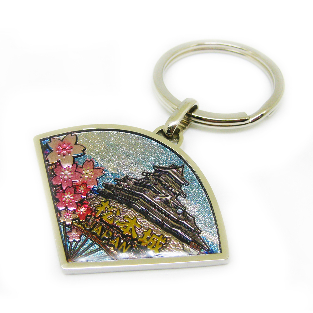 Japan scenery art printing keychain with crystal epoxy
