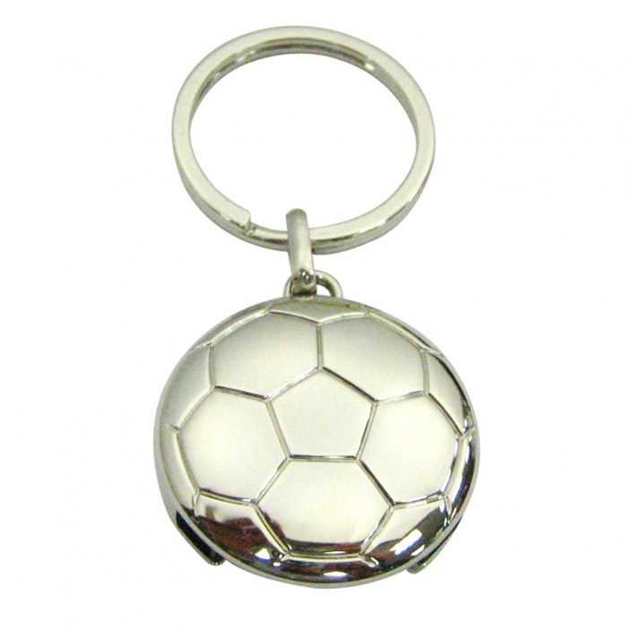 The front side of football coin keychain is 3D design with nickel plating.