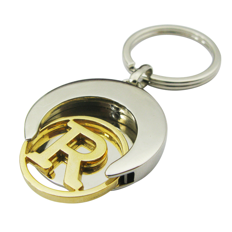 Football shape coin keychain with cut out gold token,CJ-Football