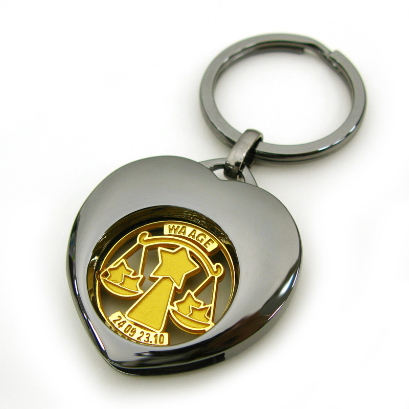 Heart Shape Metal Coin Keyring