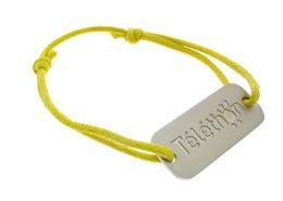 Yellow Bracelet with Mat Metal Charm