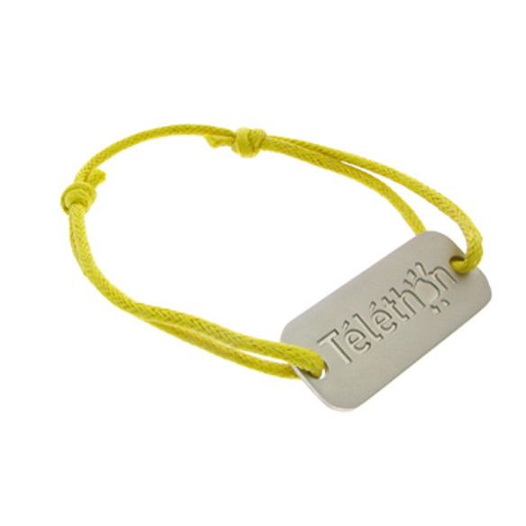 Yellow Bracelet with Mat Metal Charm