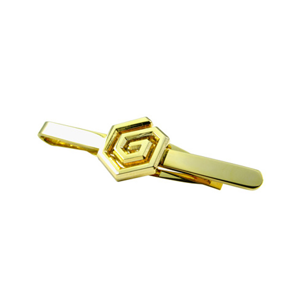 Hexagon Shape Metal Tie Clip