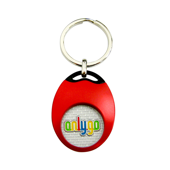 The color of Custom Oval Coin Holder Keychain is colorful