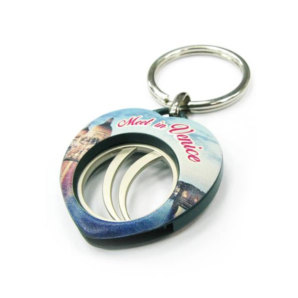 Custom digital printing coin keychain,CJ-20001-Heart
