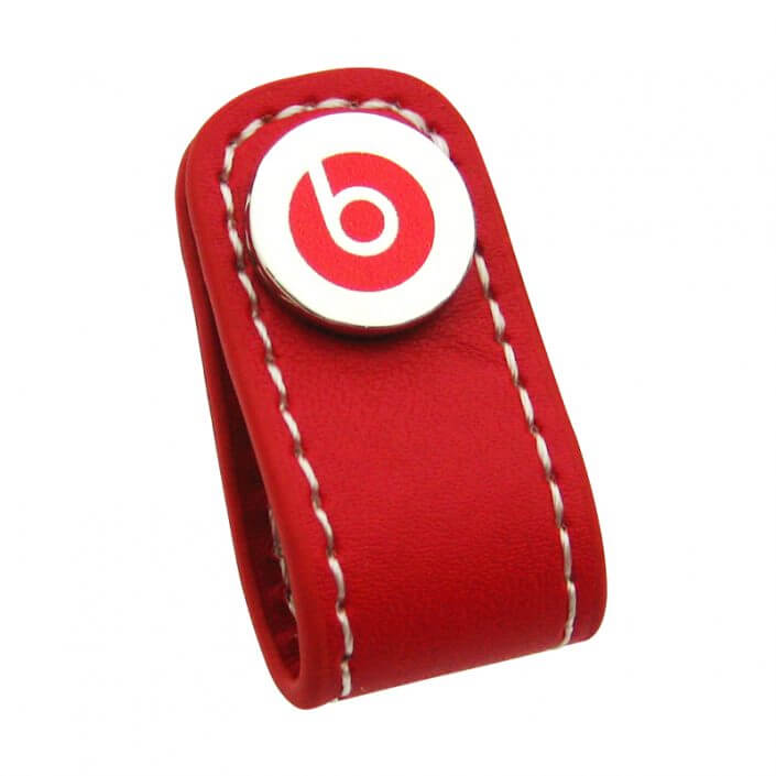 Red Headphone Leather Cable Winder can be customized your logo on it.