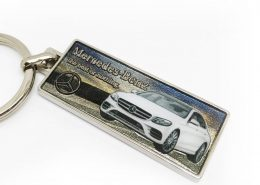 Car brand keychain with 3D relief text