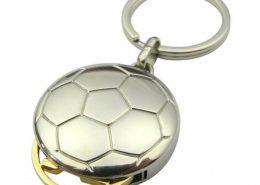 Football shape coin keychain with gold token,CJ-Football