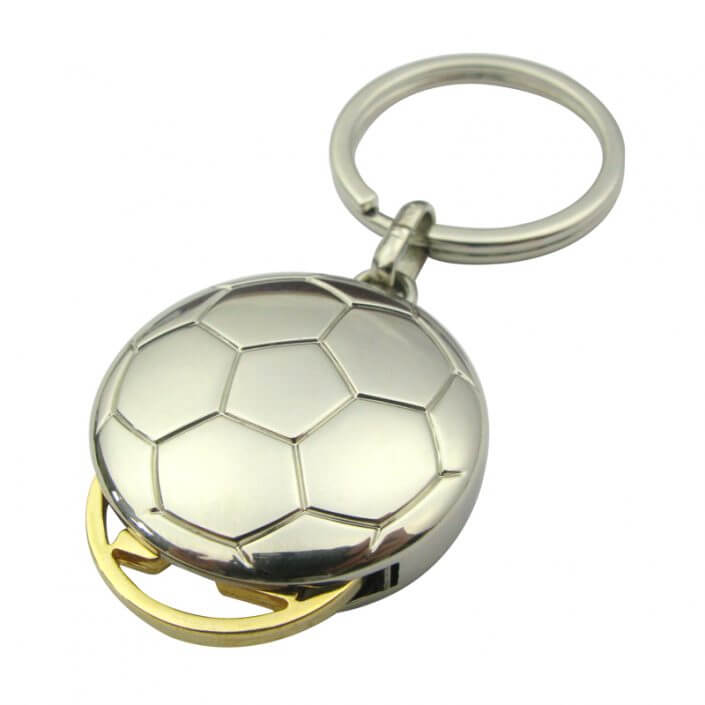 Football shape coin keychain with gold token,CJ-Football