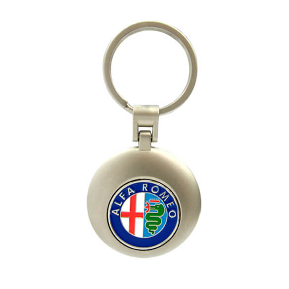 The front side of Round Zinc Alloy Soft Enamel Coin Keychain