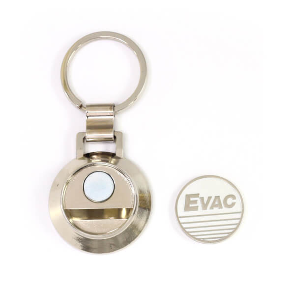 The main body and the coin of Round shape coin keychain with opener