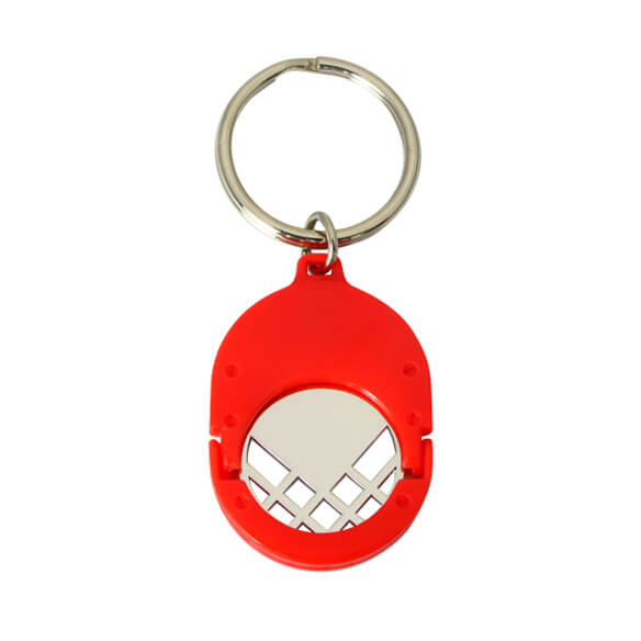 Red color plastic coin keyring with cut out coin