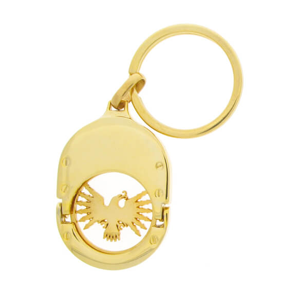 The 2 Parts Oval-shaped Coin Keychain is gold plating.
