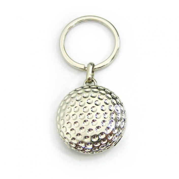The front side of Golf Shape Coin Keychain is 3D design