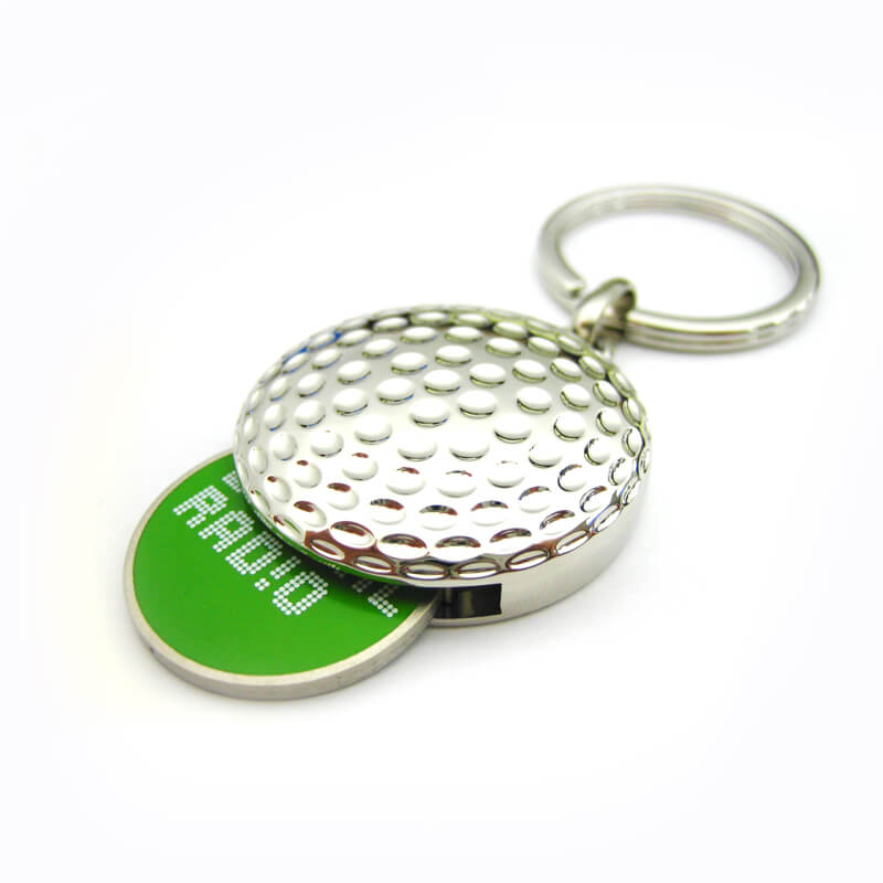 Golf keychain with shopping cart coin