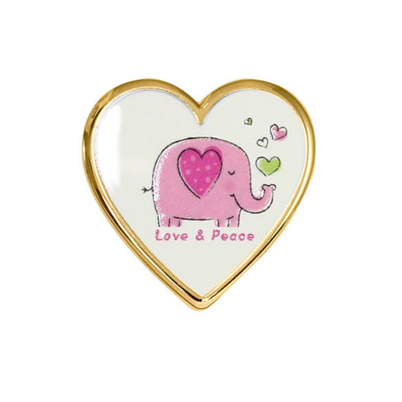 Custom Logo Pin Badge with Heart Shape
