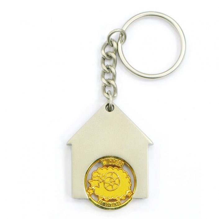The front side of Custom House Shape Coin Keychain