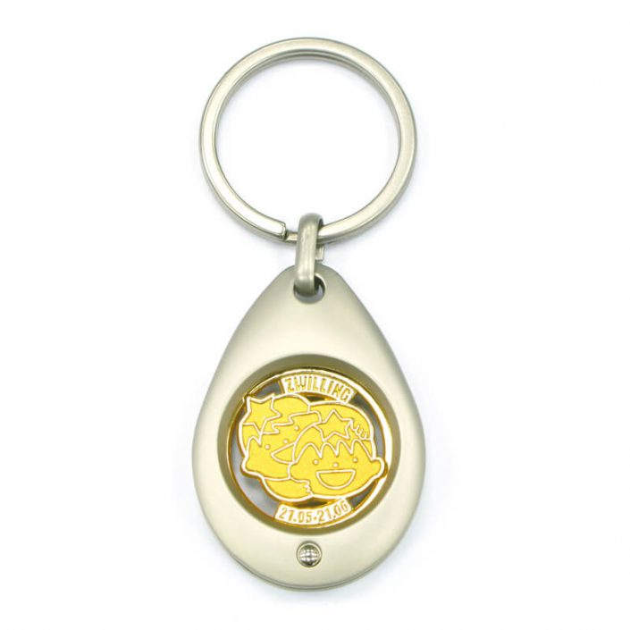The front side of Drop Shaped Metal Trolley Coin Keychain
