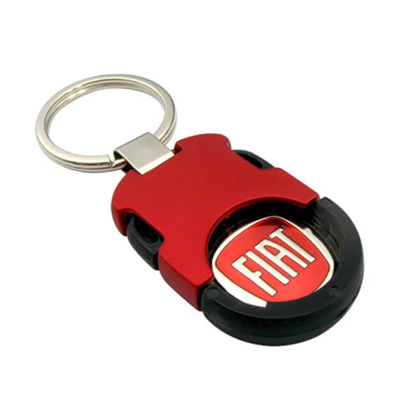 Inserted Buckle Coin Holder Keychain is red plating and made of zinc alloy.