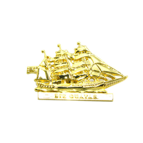 3D Gold Tall Ship Pin Badge