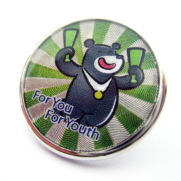 Bear Bravo Round Shape Pin