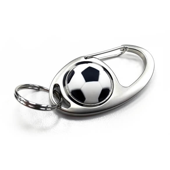 Round Shape Keychain With Hook - football