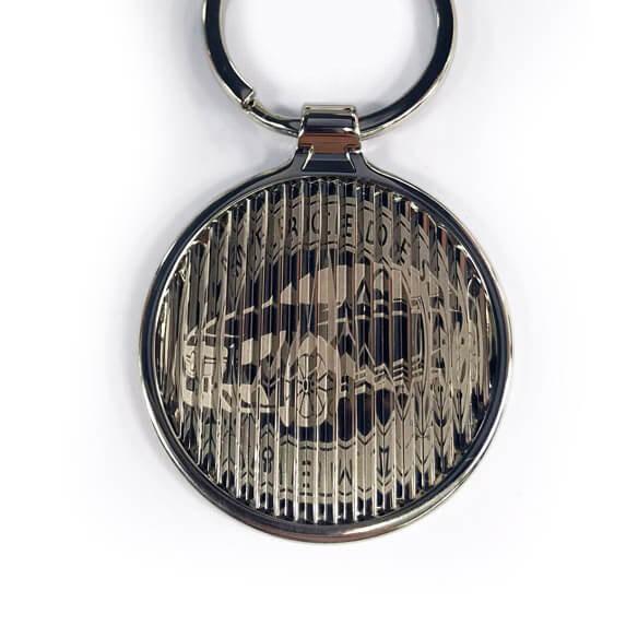 2 logo in 1 side metal keychain