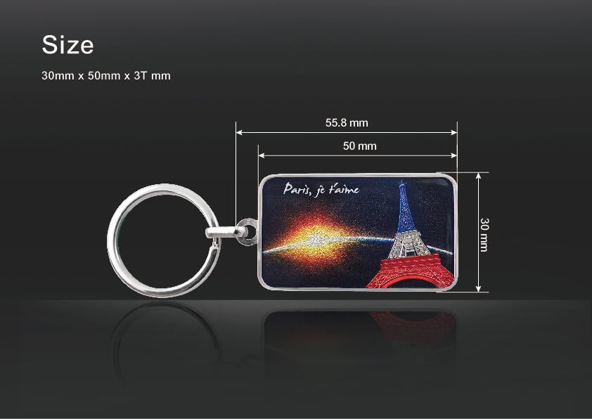 Vivid Embossed Eiffel Tower Keychain