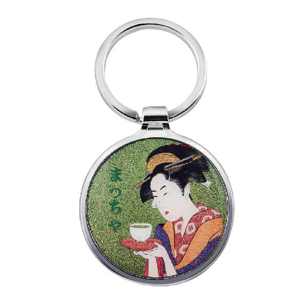 Round Keychain with Japanese traditional painting