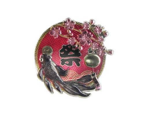 Glitter Japanese Style Cherry Blossoms Pin Badge