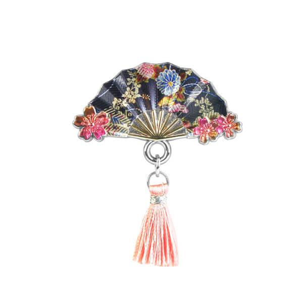 Japanese Folding Fan Metal Pin Badge with Tassels