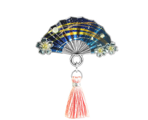 Japanese Folding Fan Metal Pin Badge with Tassels
