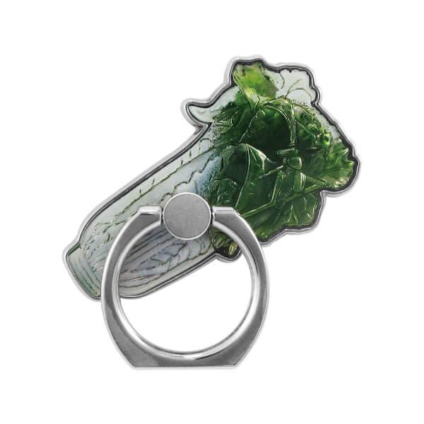 Jadeite Cabbage Design Metal Mobile Ring Holder