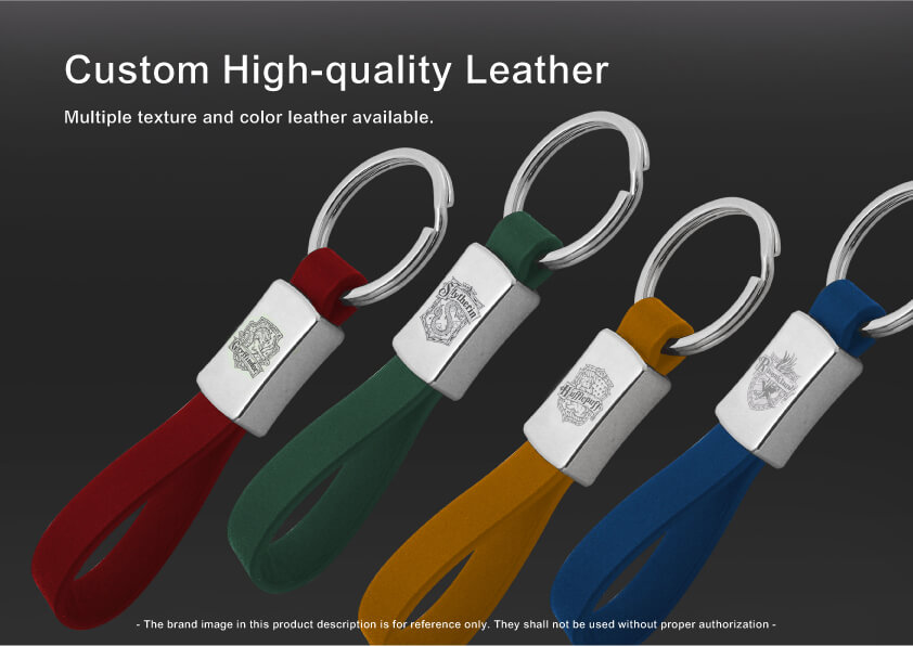 The leather part of Personal Car Logo Metal Leather Keychain can be cutomized
